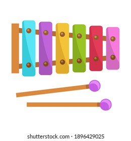Cute xylophone toy, music instrument for kids vector illustration