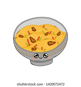 A cute Yakisoba bowl in Japan kawaii style. Yakisoba isolated on white background. Happy cartoon character anime with a funny face. Vector illustration. Traditional Japanese cuisine dish.