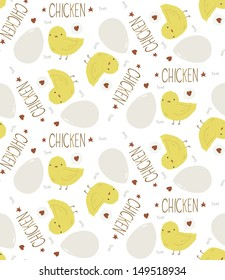 The Cute Yellow Baby Chicken seamless background pattern. The vector illustration of the cute yellow baby chicken with egg.