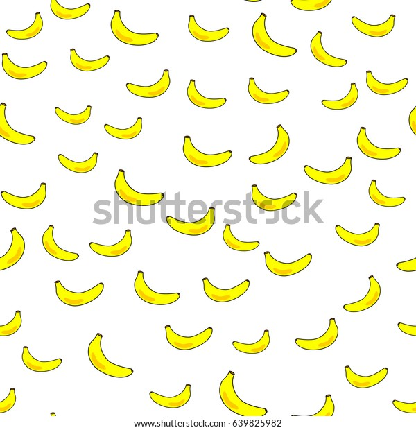 Cute Yellow Banana Seamless Wallpaper Background Stock