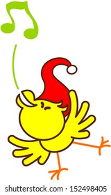 Cute yellow bird with red Christmas hat while balancing, standing on one leg and singing in an enthusiastic way to celebrate Christmas