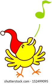 Cute yellow bird with red Christmas hat while extending its wings, raising its head, dancing and blowing animatedly a musical note to celebrate Christmas