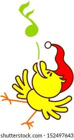 Cute yellow bird with red Santa hat while dancing and singing in a joyful way to celebrate Christmas