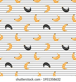 Cute Yellow and Black Bananas Vector Seamless Pattern. Fruit Wallpaper. Summer Striped Background
