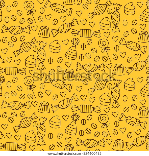 Cute Yellow Brown Candy Doodles Seamless Stock Vector