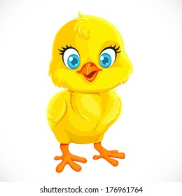 Cute yellow cartoon baby chicken isolated on a white background