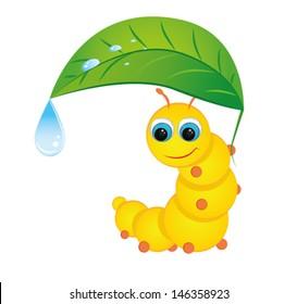 cute yellow caterpillar hiding under a leaf from the rain