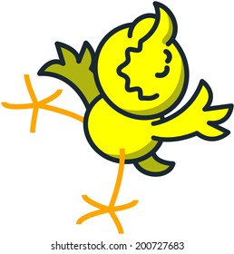 Cute yellow chicken raising its right leg, extending its wings and moving its head upwards while smiling with tenderness and satisfaction in a touching way