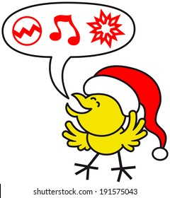 Cute yellow chicken wearing a red Santa hat, clenching its eyes and opening its wings while expressing enthusiastically what it wishes for Christmas: baubles, music and ornaments