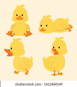 Cute yellow ducks cartoon set