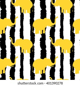 cute yellow elephants silhouette on black and white grunge stripes seamless vector pattern background illustration