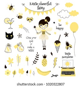 cute yellow fairy, graphic elements set for D.I.Y. projects