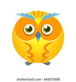 Cute yellow geometric owl bird, colorful cartoon character vector Illustration