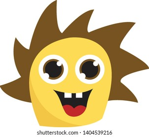 A cute yellow monster with brown spikey hair and big eyes, vector, color drawing or illustration.