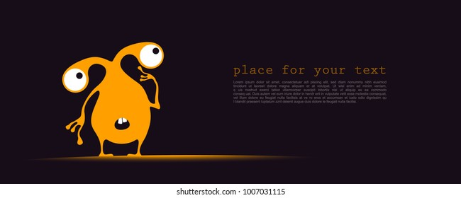 Cute yellow monster with funny emotions and place for text on dark background. cartoon illustration