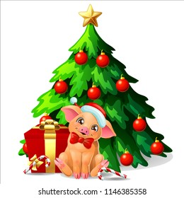 A cute yellow pig with red bow and the Santa Claus cap and a fir-tree with spheres and star, a Candy cane and gift box. A vector illustration in cartoon style, isolated on white