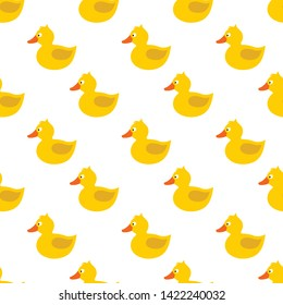 Cute yellow rubber duck with eye, orange beak, tale, wing, without paws, topknot, crest. Vector seamless pattern. Customized fun background. For cards, baby shower, celebration, paper, book cover.