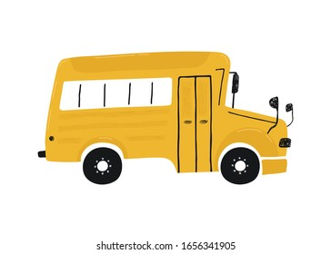 Cute yellow school bus isolated on a white background. Icon in hand drawn style for design of children's rooms, clothing, textiles. Vector illustration