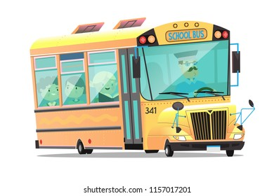 Cute yellow school bus with a mustached driver. Children on board talk and study. Isolated vector illustration