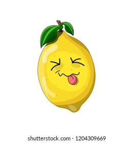 Cute yellow sour lemon, is showing tongue, with green leaves, cartoon style, vector illustration isolated on white background