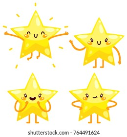 Cute yellow star, five point, character set, vector.