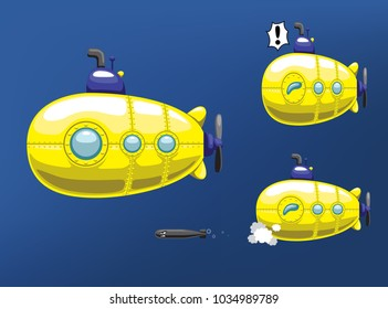 Cute Yellow Submarine Release Torpedo Cartoon Vector Illustration