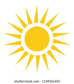 A cute yellow sun shape with bright rays in a cartoon style