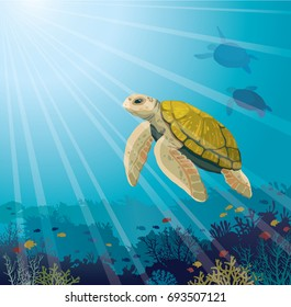 Cute yellow turtle and coral reef with fishes on a blue sea. Underwater marine life. Vector illustration.