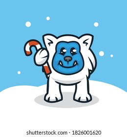 Cute yeti with Christmas decoration mascot logo design