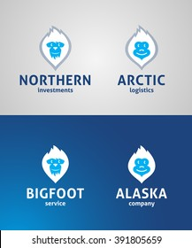 Cute Yeti Face Original Symbols. Memorable Visual Metaphor. Bigfoot Simple, Solid & Bold Mark. Represents the Concept of North, Alaska, Arctic Cold, Chill, Winter Sports, Ice, Power etc.