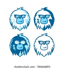 cute yeti head wearing glasses, Vector Illustration