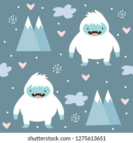 cute yeti and snow pattern on blue background