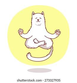 cute yoga cat. vector cartoon illustration