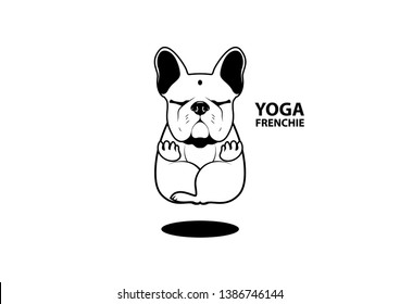 Cute Yoga French Bulldog. Peaceful meditation posture in frenchie style. Let's go to the gym and act like a Frenchie yoga style.