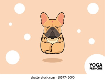 Cute Yoga Frenchie. Peaceful meditation posture in frenchie style.