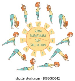 Cute yoga kid. Yoga infographics, Surya Namaskar, Salutation to the Sun. Vector illustration