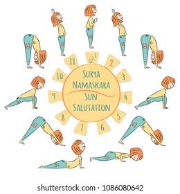 Cute Yoga Kid Infographics Surya Namaskar Salutation To The Sun Vector