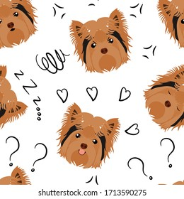 Cute Yorkshire Terrier dog emoticons showing different emotions. Happy, angry, sleep and confused. Cartoon yorkie dog puppies seamless pattern background. Great for wallpaper, kids apparel, card.