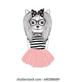 cute Yorkshire Terrier girl, furry art illustration, fashion animals