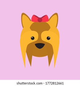 Cute yorkshire terrier logo for kennel. Flat yorkie icon for social media. A dog with long hair and red bow logo.