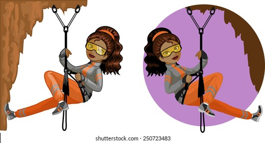 Cute young African American woman mountaineer climbs rock in professional equipment vector illustration in cartoon and flat design style