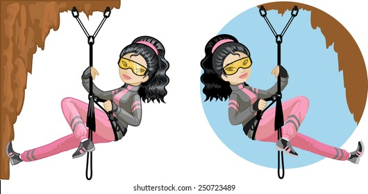 Cute young Asian woman mountaineer climbs rock in professional equipment vector illustration in cartoon and flat design style