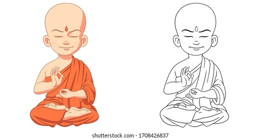 Cute young buddha, meditating monk. Coloring page and colorful clipart character. Cartoon design for t shirt print, icon, logo, label, patch or sticker. Vector illustration.