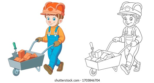 Cute young builder. Coloring page and colorful clipart character. Cartoon design for t shirt print, icon, logo, label, patch or sticker. Vector illustration.