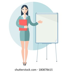 Cute young business woman pointing at empty flip chart. Flat design vector illustration.