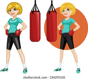 Cute young Caucasian woman boxer vector illustration in cartoon and flat design style