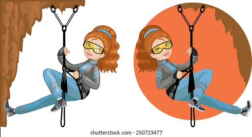 Cute young Caucasian woman mountaineer climbs rock in professional equipment vector illustration in cartoon and flat design style