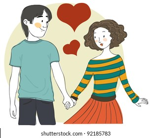 Cute young couple in love hand in hand
