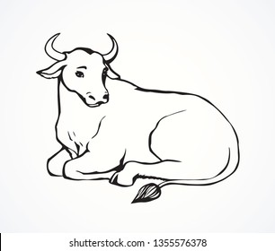 Cute young dairy white cow lies on farmland graze background. Monochrome freehand black line ink drawn hand logo emblem pictogram in art retro contour print style outline pen on paper space for text