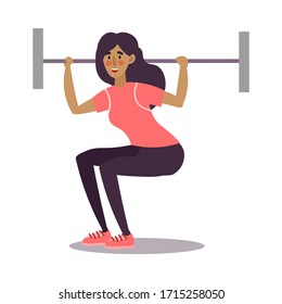 Cute young dark-haired athletic woman lifting a barbell in a gym. Vector illustration in the flat cartoon style